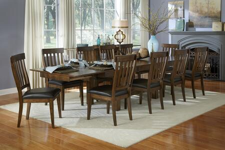 Mariposa Collection MRPRWTT10SSC 11-Piece Dining Room Set Trestle Table and 10x Slatback Side Chairs in Rustic Whiskey