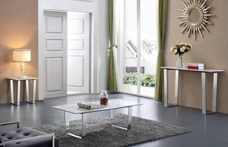 Carlton Collection 235CEC 3 PC Living Room Table Set with Coffee Table + End Table +  Console Table in Chrome