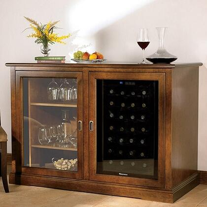 3359202 Siena Mezzo Credenza with One Wine Cooler  Spacious Storage  and Adjustable Shelves  in