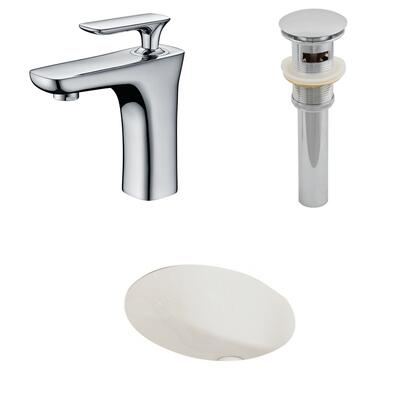 AI-13149 19.25-in. Width x 16-in. Diameter CUPC Oval Undermount Sink Set In Biscuit With Single Hole CUPC Faucet And