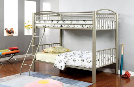 Lovia Collection CM-BK1037T Twin/Twin Size Bunk Bed with Movable Ladder  Detachable Bunk Bed  Attached Ladder and Full Metal Construction in Metallic Gold