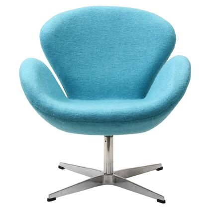 Wing Collection EEI-137-BBL Accent Chair with Aluminum Rotating Base  High Density Foam Cushions  Re-Enforced Fiberglass Frame and Wool Upholstery in Baby Blue