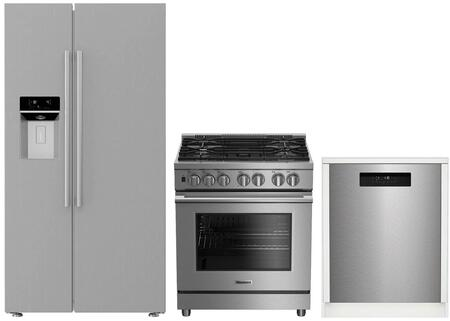 3-Piece Kitchen Package with BSBS2230SS 36 inch  Side by Side Refrigerator  BGRP34520SS 30 inch  Freestanding Gas Range  and a free DWT25502SS 24 inch  Built In Full Console