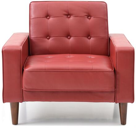Navi Collection G849A-C 43 inch  Sleeper Chair with Tapered Wood Legs  Track Arms  Button Tufted Cushions  Heavy Duty Springs and Faux Leather Upholstery in Red
