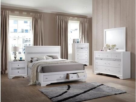 Naima Collection 25767EKSET 5 PC Bedroom Set with King Size Bed + Dresser + Mirror + Chest + Nightstand in White