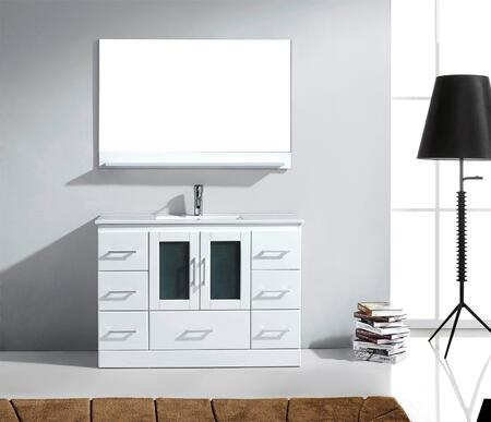 MS-6748-C-WH-001 Modern 48 Single Sink Bathroom Vanity Set White w/Brushed Nickel