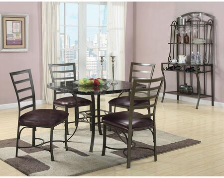 Daisy Collection 70157TCRB 6 PC Dining Room Set with Dining Table + 4 Side Chairs + Baker's Rack in Antique Bronze Metal 716568