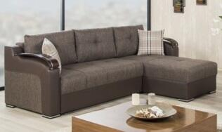 Divan Deluxe DIDESECKB Sectional with Pillows  Storage Under the Seats  Stitched Detailing  Curved Arms and Block Feet with Woodlike and Stainless Steel