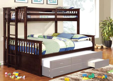 University II Collection CM-BK458F-EXP-BED Twin Over Full Size Bunk Bed with 13 PC Slats Top and Bottom  Side Access Ladder  Solid Wood and Wood Veneers