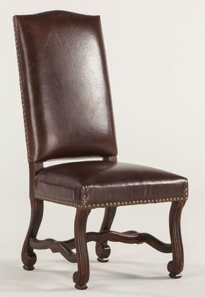 Emilia ZWEI63LBD 20 inch  Dining Chair with Nail Head Trim  Cabriole Legs  Carved Stretchers and Distressed Leather Upholstery in Burgundy