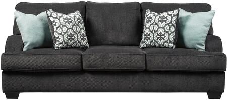 Charenton Collection 1410138 93 inch  Sofa with Textured Fabric Upholstery  Piped Stitching Detail and Recessed Armrests in