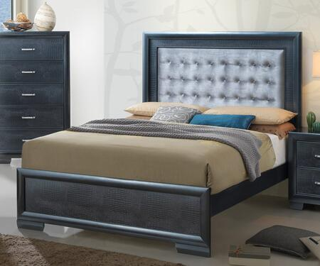 Vella Collection G5650A-FB Full Size Bed with Tufted Headboard  Crocodile Texture and Wood Veneers in