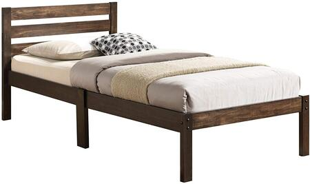 Donato Collection 21520T Twin Size Bed with Wooden Slatted Headboard  Low Profile Footboard  Poplar Wood and Laminated Veneer Materials in Ash Brown