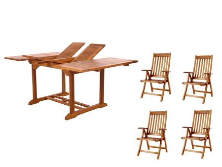 TD72-44 5-Piece Patio Set with Butterfly Extension Table and Four Teak Folding Arm Chairs in Light Teak