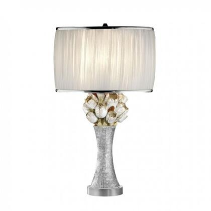 Simone L95508T Table Lamp with Silver body with glitter embellishment  Floral accents  Pleated white sheer oval-shaped shade with silver trim  Shade: 12.25