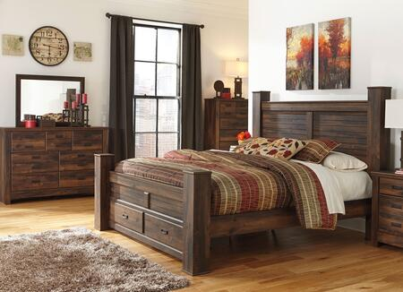 Quinden King Bedroom Set With Poster Storage Bed  Dresser  Mirror And Chest In Dark Brown