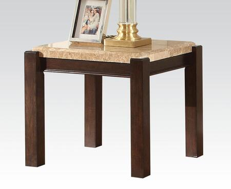 Charissa Collection 80794 26 inch  End Table with Aegean Light Brown Marble Top and Black Legs in Brown