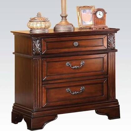 Roman Empire III Collection 23346 29 inch  Nightstand with 3 Drawers  Metal Hardware  Felt Lined Top Drawer and Side Metal Drawer Glides in Dark Walnut