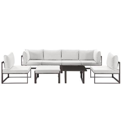 Fortuna Collection EEI-1728-BRN-WHI-SET 8-Piece Outdoor Patio Sectional Sofa Set with 2 Corner Sections  4 Center Sections  Ottoman and Side Table in Brown and