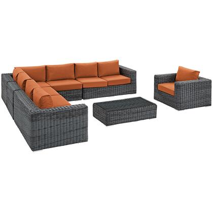 Summon Collection EEI-2014-GRY-TUS-SET 7 Piece Outdoor Patio Sunbrella Sectional Set with Left Arm Facing Loveseat  2 Armless Chairs  Corner Chair  Right Arm