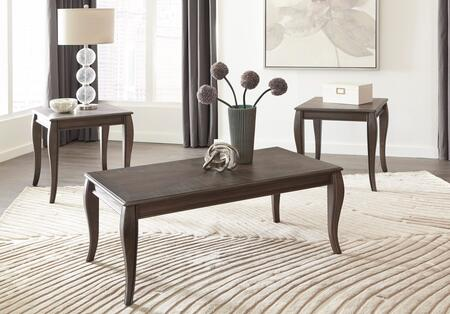 Vintelli Collection T316-13 3-Piece Living Room Table Set with Cocktail Table and 2 End Tables in Metallic