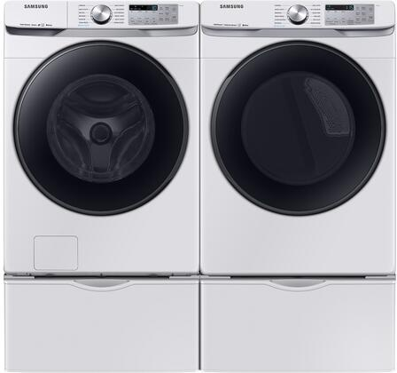 """Front_Load_Laundry_Pair_with_WF50R8500AW_28""""_Washer__DVG50R8500W_27""""_Gas_Dryer_and_2x_WE402NW_Pedestal_in"""