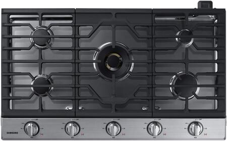 "NA36K7750TS 36"" Gas Cooktop with 5 Sealed Burners  a Dual Ring Brass Burner  Illuminated Knobs  Griddle  Wok Ring and Wifi  in Stainless"