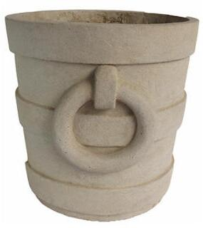 Aztec Collection PL-R1818 18 Round Medium Planter with Cast Limestone Construction and Artistic Touch in Natural