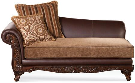 Fairfax 52367 60 inch  Chaise with 2 Accent Pillows  Loose Seat Cushion  Decorative Trim  Made in USA  Bonded Leather and Fabric Upholstery in Bomber Chocolate