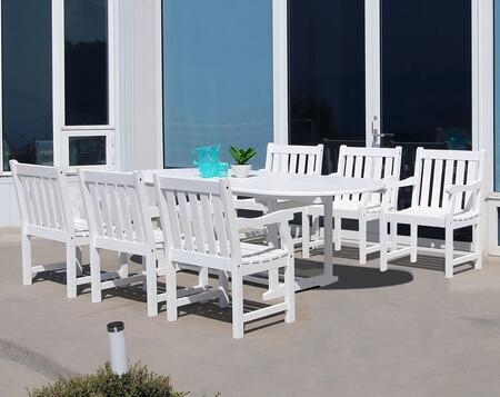 V1335SET21 Bradley Eco-friendly 7-piece Outdoor White Hardwood Dining Set with Oval Extention Table and Arm