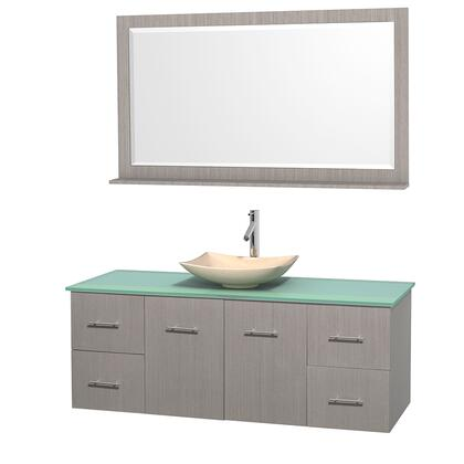 Wcvw00960sgogggs5m58 60 In. Single Bathroom Vanity In Gray Oak  Green Glass Countertop  Arista Ivory Marble Sink  And 58 In.