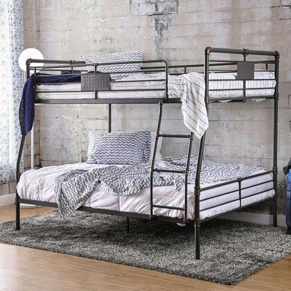 Olga I Collection CM-BK913FQ-BED Full over Queen Size Bunk Bed with Attached Ladder  Slats Top and Bottom  Industrial Design and Full Metal Construction in