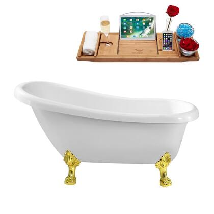 N480GLD 61 inch  Soaking Clawfoot Tub with Internal Drain  Chrome Color Drain Assembly  131 Gallons Water Capacity  and Acrylic/Fiberglass Construction  in Glossy