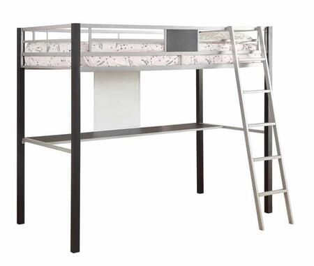 LeClair 460281 Twin Loft Bed with Desk on the Base  Ladder and Metal Construction in Silver and
