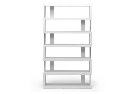 FP-6D-WHITE Baxton Studio Barnes Six-Shelf Modern Bookcase  In