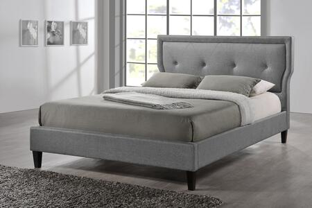 Baxton Studio BBT6421-FULL-GREY Marquesa Wood Platform Bed with Polyurethane Foam Padding  Button Tufted Headboard  Fabric Upholstery Made of Polyester-Linen
