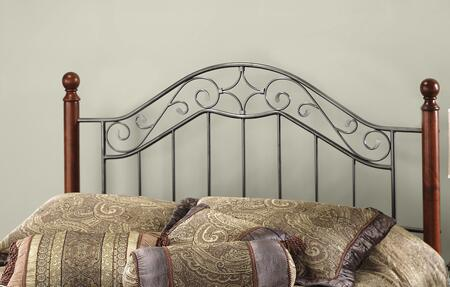 Martino Collection 1392HK King Size Headboard with Decorative Finials  Wood Posts  Metal Scrollwork and Open Frame Panel in Smoke Silver and
