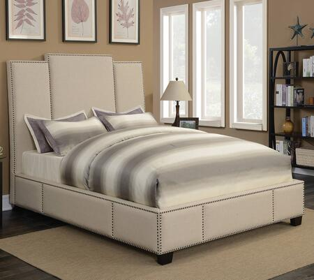Lawndale Collection 300796KW California King Size Bed with Fabric Upholstery  Three-Panel Headboard  Nailhead Trim and Sturdy Wood Frame Construction in