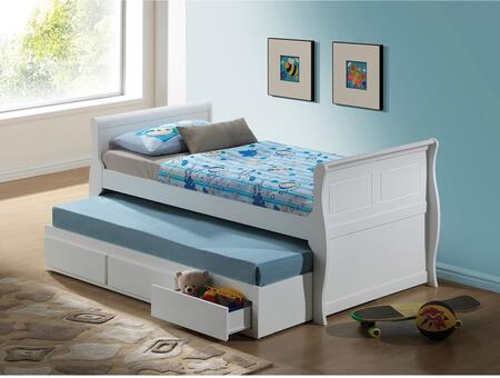 Nebo Collection 30100F Full Size Bed with Trundle  Storage Drawers and Wood Frame in White