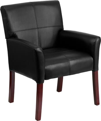 BT-353-BK-LEA-GG Black Leather Executive Side Chair or Reception Chair with Mahogany
