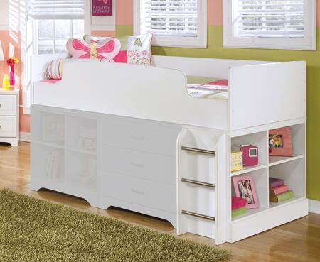 Lulu Collection B102-68T/17/B100-11 Twin Loft Bed with Bookcase with Ladder  4 Open Compartments and Replicated Paint in