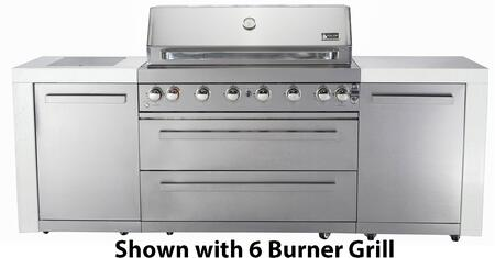 MAI400 400 Grill Island with Four 304 Stainless Steel Burners  Faux Granite Surface  Rotisserie Kit with Electric Motor  Halogen Lights  Knob Controls and