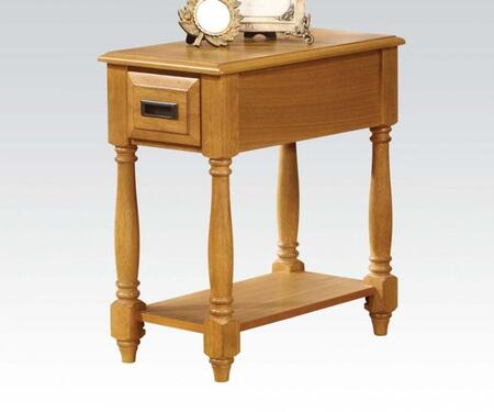 Qrabard Collection 80510 12 inch  Side Table with 1 Drawer  Bottom Shelf  Turned Legs  Polished Brass Hardware  Rubberwood and Ash Veneer Materials in Light Oak