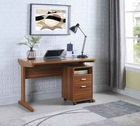 801916 2-Piece Desk Set with Writing Desk and Mobile File Cabinet in Light Walnut