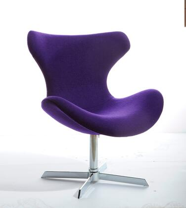 VGOBTY87A-F-PUR Modrest Aludra Lounge Chair with Wing Back Design  Chrome Base and Fabric Upholstery in