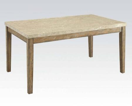 Claudia Collection 71715 64 inch  Dining Table with White Marble Top  Tapered Legs  Rubberwood and Veneer Materials in Salvage Brown