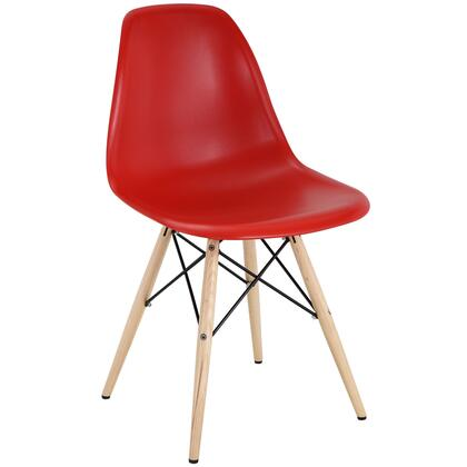 Pyramid Collection EEI-180-RED Dining Side Chair with Non-Marking Feet  Solid Beech Wood Tapered Legs  Acrylonitrile Butadiene Styrene (ABS) Plastic Seat and