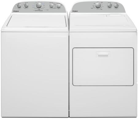 White Top Load Pair with WTW4950HW 27 inch  Top Load Washer and WGD4950HW 29 inch  Gas