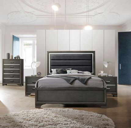 Carine II Collection 26260Q4SET 4 PC Bedroom Set with Queen Size Bed  Chest and 2 Nightstands in Grey