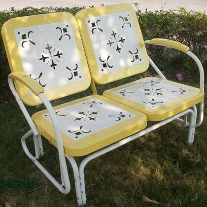 Retro Collection 71150 42 inch  Metal Glider with Decorative Vintage Stamped Design and Square 2-Tone Back and Seat in